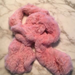 Pink Cache swirl fur scarf. 50 in long x 6 in wide